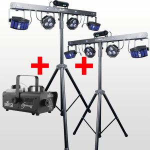 2 packs lumieres gigbar + machine a fumee