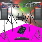 LOCATION sonorisation 1200W + 2 pack lumieres GIGBAR2, 2 micros UHF, machine a fumée, table mixage